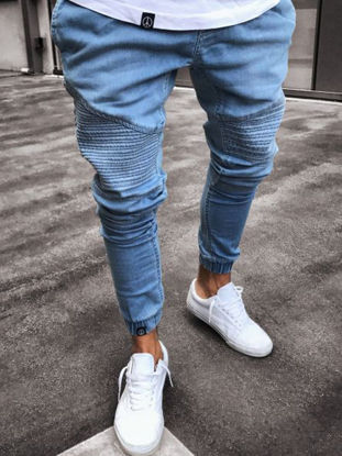 Picture of Men's Jeans Mid Waist Solid Color Patchwork Slim Jeans