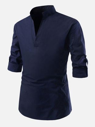 Picture of Men's Shirt Solid Color Long Sleeve V Neck Top