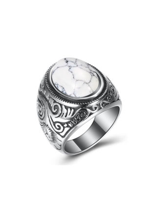 Picture of Men's Fashion Ring Rammel Inlay Vintage Trendy Ring Accessory