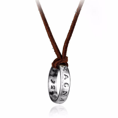 Picture of Men's Fashion Necklace Metal Ring Letters Inlay Pendant Causal Punk Necklace Accessory