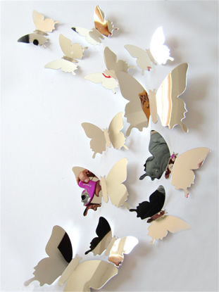 Picture of 12Pcs Wall Stickers Set Colorful 3D Mirrow Butterflies Shaped Decorative Sticker
