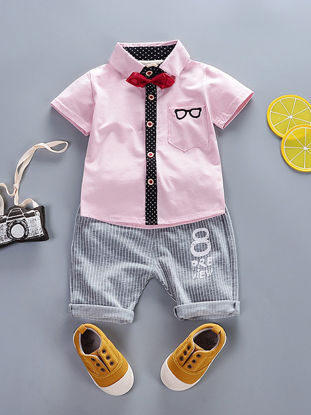 Picture of Boy's 2 Pcs Set Casual Short Sleeve Shirt Stripe Comfy Shorts Set