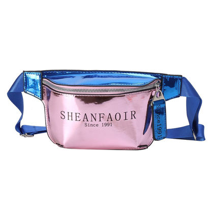 Picture of Women's Waist Bag Letter Print Laser Patchwork Zipper Closure Bag