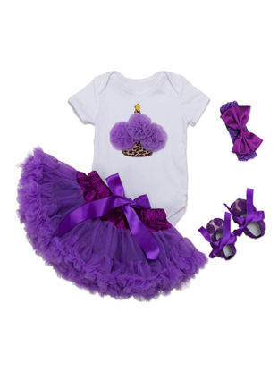 Picture of Baby Girl's Skirt Set 4 Pcs Bodysuit Skirt Headband Shoes Baby Girls Skirt Set