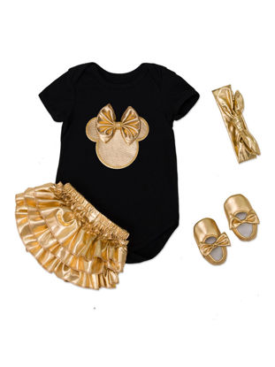 Picture of Baby Girl's Skirt Set 4 Pcs Shoes Headband Bodysuit Baby Clothes