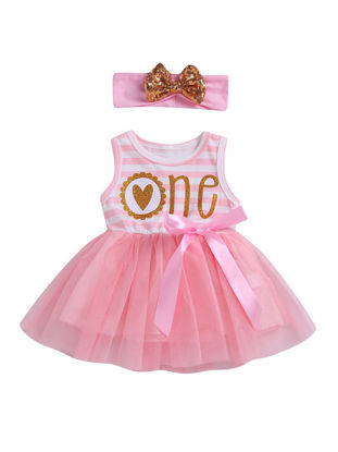 Picture of 2Pcs Baby Girl's Set Sweet Cartoon Striped Patchwork Sleeveless Dress Headband Set