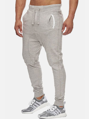 Picture of Men's Causal Pants Solid Color Drawstring Waist Pockets Elastic Slim Pants