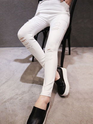 Picture of Women's Leggings High Waist Solid Color Hole Design Skinny Leggings