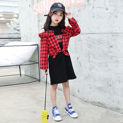 Picture of Girls Dress Patchwork Hollow Out One Piece Layer Look Checkered Pattern Sweet Dress