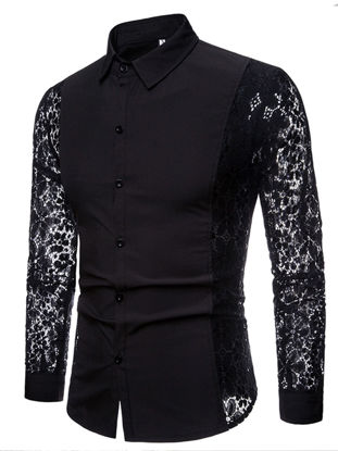 Picture of Men's Lace Patchwork Shirt Fashion Simple Solid Color Long Sleeve Turn Down Collar Casual Top