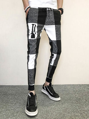 Picture of Men's Casual Pants Color Block Drawstring Waist Ankle Tied Pants