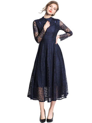 Picture of Women's Aline Dress Stylish Solid Color Slim Dress