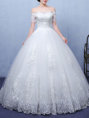 Picture of Women's Wedding Dress Off Shoulder Embroidery Ball Gown Elegant Maxi Dress