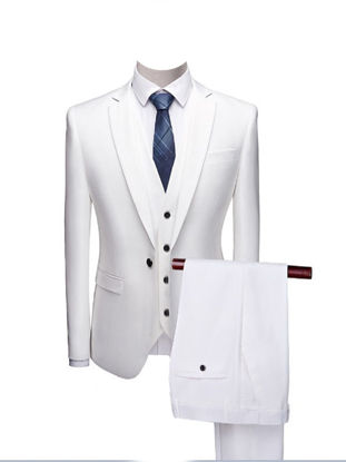 Picture of 3Pcs Men's Set Solid Color Business Fashion Vest Blazer Pants Set