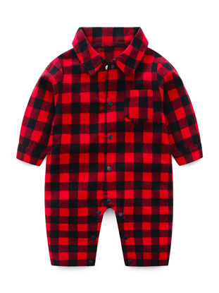 Picture of Baby's Romper Fashion Classic Plaids Pattern Long Sleeve Jumpsuit