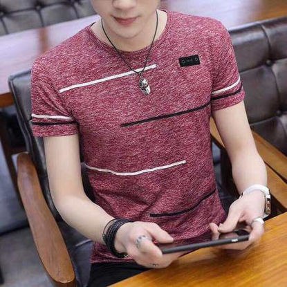 Picture of Men's T Shirt Color Block Stripes O Neck Short Sleeve Top