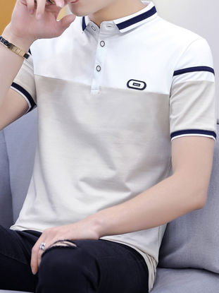 Picture of Men's Polo Shirt Turn Down Collar Short Sleeve Patchwork Color Block Top