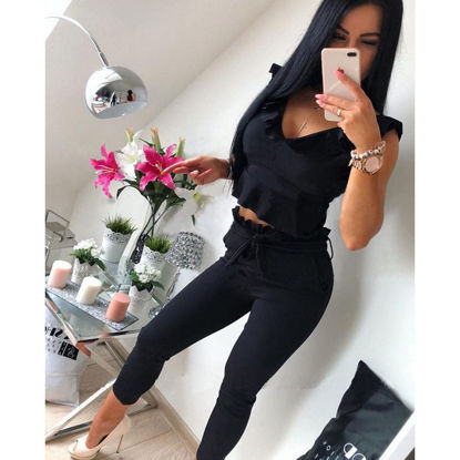 صورة Women's 2Pcs Pants Suit V Neck Sleeveless Solid Color Top Sheath Pants Suit