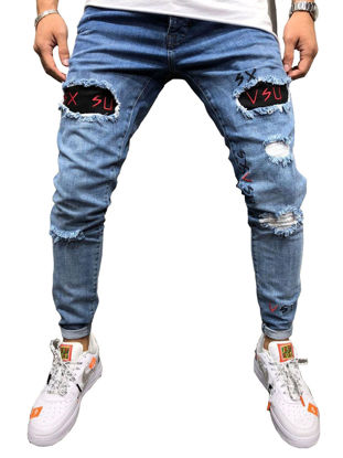 Picture of Men's Jeans Hole Patchwork Embroidery Slim Denim Pants