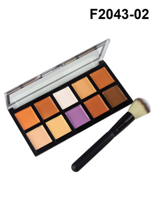 Picture of GORON 2Pcs Makeup Set 10 Colors Concealer Palette With Makeup Brush