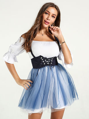 Picture of Women's Two-Piece Set Slash Neck Flare Sleeve Dress Gauze Patched Suspender Skirt Suit