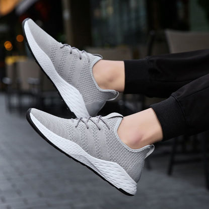 Picture of Men's Sports Fashion Shoes Solid Color Lacing Comfy Running Shoes