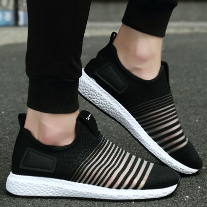 Picture of Men's Sports Fashion Shoes Striped Pattern Light Weight Comfy Running Shoes