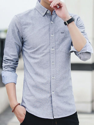 Picture of Men's Shirt Turn Down Collar Long Sleeve Solid Color Top