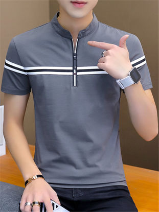 Picture of Men's T Shirt Stand Collar Short Sleeve Striped Pattern Top