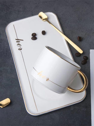 Picture of 3Pcs Ceramic Coffee Cup Sets Delicate Golden Edge Cup Spoon Tray Set