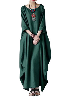 Picture of Women's Plus Size Dress O Neck Three Quarters Sleeve Solid Color Maxi Long Dress
