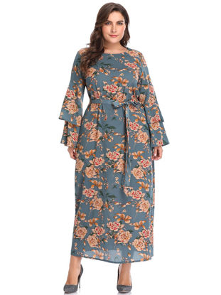 Picture of Women's Plus Size Dress Floral Sash Flare Sleeve Dress