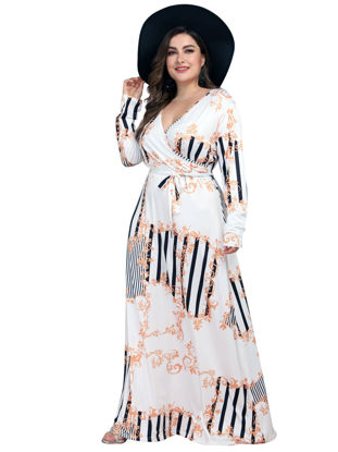 صورة Women's Plus Size Maxi Long Aline Dress Fashion Floral Print V Neck Dress