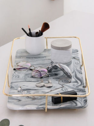 Picture of 1Pc Jewelry Tray European Style Fashion Ceramic Cosmetic Storage Display Tray Home Decor