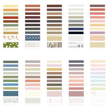 Picture of 10 Rolls Washi Tapes Simple Solid Color Scrapbook Adhesive Decorative Tapes