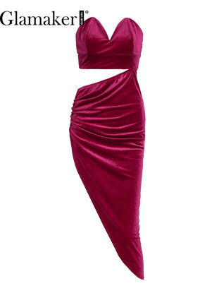صورة Glamaker Women's Dress Velvet Strapless Asymmetrical Hollow Out Dress