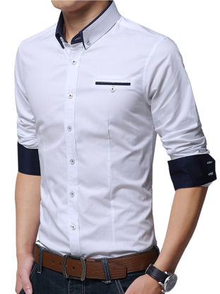Picture of Men's Plus Size Shirt Turn Down Collar Long Sleeve Slim Fashion Top
