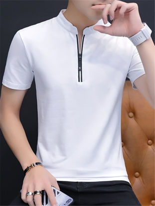 Picture of Men's T Shirt Stand Collar Long Sleeve Solid Color Comfy Top