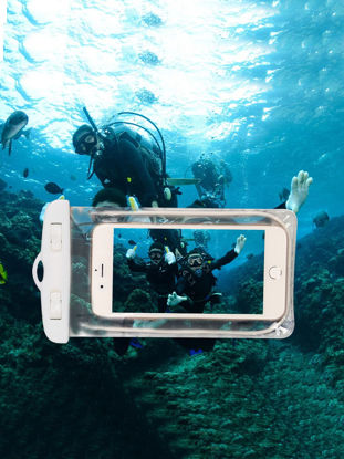 Picture of Men's Clear Waterproof Mobile Phone Bags With Strap Outdoor Swimming Phone Bag