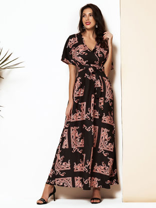 صورة Women's A Line Dress Tight Waist Ethnic Pattern V Neck Full Dress