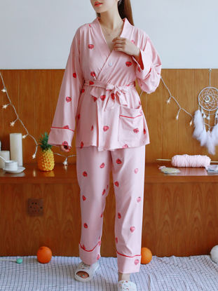 صورة Women's Pajama Set Long Sleeve V Neck Fruit Pattern Casual Home Set With Blindfold