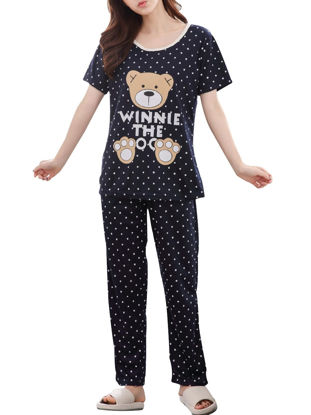 صورة Women's Pajamas Set Plus Size Cartoon Bear Polka Dot Short Sleeve Home Pants Set