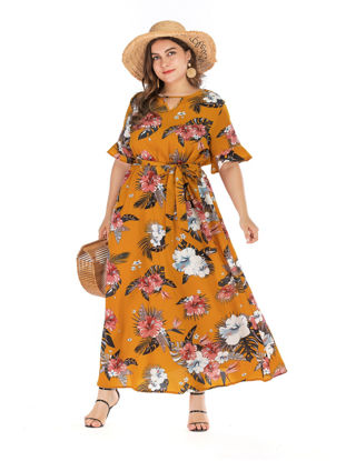 صورة Women's Aline Dress V Neck Flare Sleeve Plus Size Floral Dress