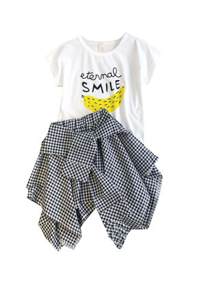 Picture of Girl's 2Pcs Set O Neck Short Sleeves Stylish Letter T-Shirt Plaid Skirt Set