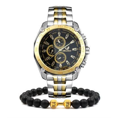 Picture of Men's Fashion Watch Stainless Steel Business Watch With A Beaded Bracelet Set