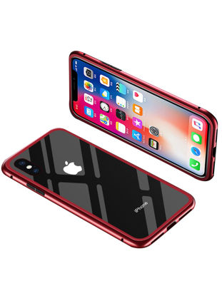 Picture of iPhone XS/XS Max/XR/X/8/8 Plus/7/7 Plus/6/6S/6 Plus Phone Cover Magnet Metal Edge Tempered Glass Phone Case