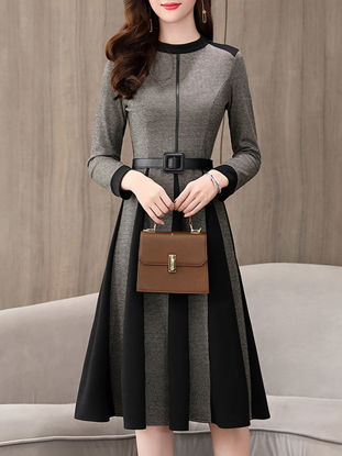 صورة Women's Aline Dress Long Sleeve O Neck Midi Pleated Dress