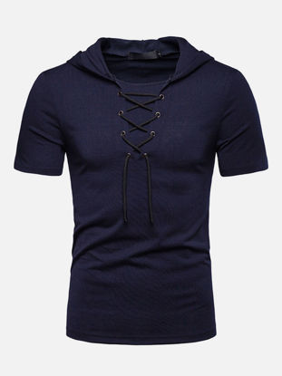 Picture of Men's T Shirt O Neck Short Sleeve Hooded Solid Color Lace Up Top