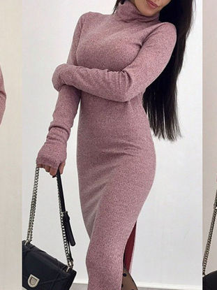 Picture of Women's Dress Turtle Neck Split Long Sleeve Solid Color Maxi Long Dress