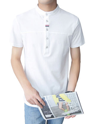 Picture of Men's Polo Shirt Solid Color Short Sleeve Stand Collar Casual Soft Polo Shirt